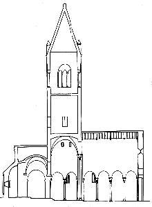 S. Egidio in Fontanella, sezione longitudinale della chiesa